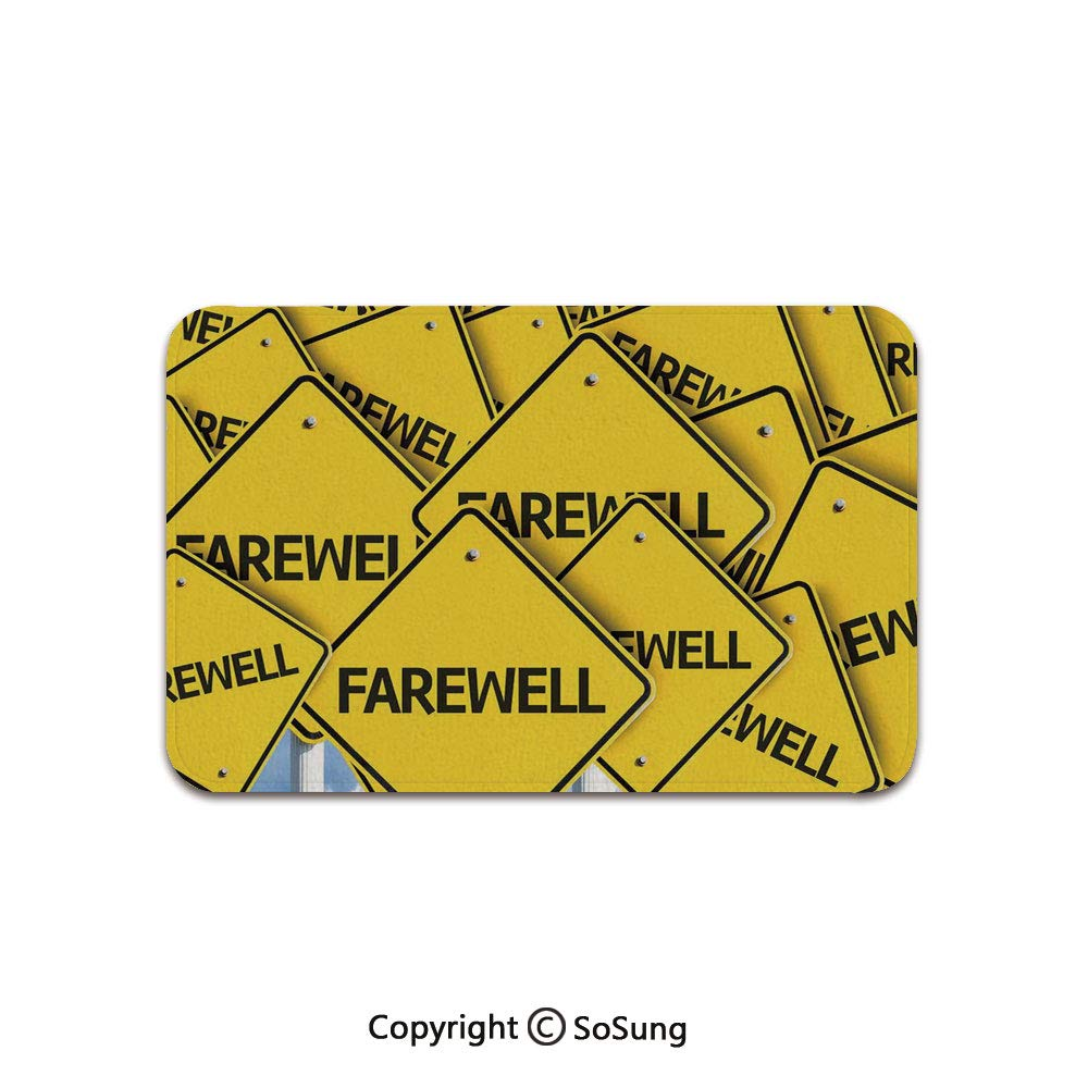 Going Away Party Decorations Area Rug,Multiple Road Signs with Text Farewell Journey Holiday,for Living Room Bedroom Dining Room,5'x 4',Yellow Black White by SoSung