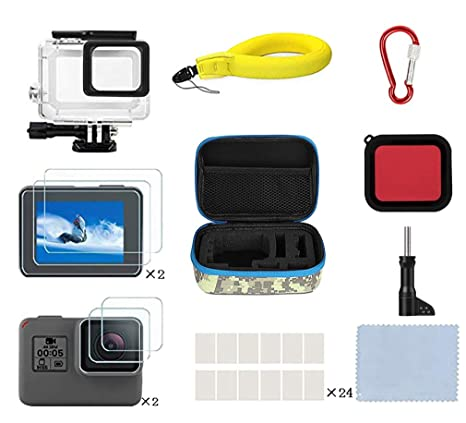 le rapport qualité prix le plus populaire style exquis Kitspeed Accessories Kit for GoPro Hero 7 Black/(2018)/6/5, Including  Waterproof case,Red Filter,Tempered Glass Film,Waterproof Camera  Float,Anti-Fog ...