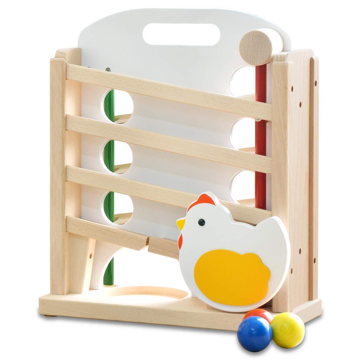【日本製】 ニワトリ キンコンボール 木製 天然木 木のおもちゃ 知育玩具 国産 男の子 女の子 幼児 子供 ナチュラル   B07LGRV5CG