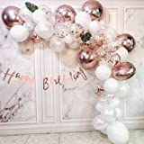 Rose Gold Balloon Garland Arch Kit Party Decoration Kit for Birthday Party Wedding Ballon Bridal Baby Shower Graduation Decor Foil Rose Gold & White & Confetti Balloons with Banner All in One