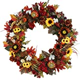 Pumpkin Wreath Harvest Silk Front Door Wreath Large Fall Wreath for Halloween&Thanksgiving 24 Inches