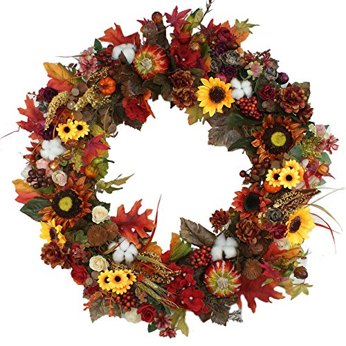 Pumpkin Wreath Harvest Silk Front Door Wreath Large Fall Wreath for Halloween&Thanksgiving 24 Inches by Forevercute
