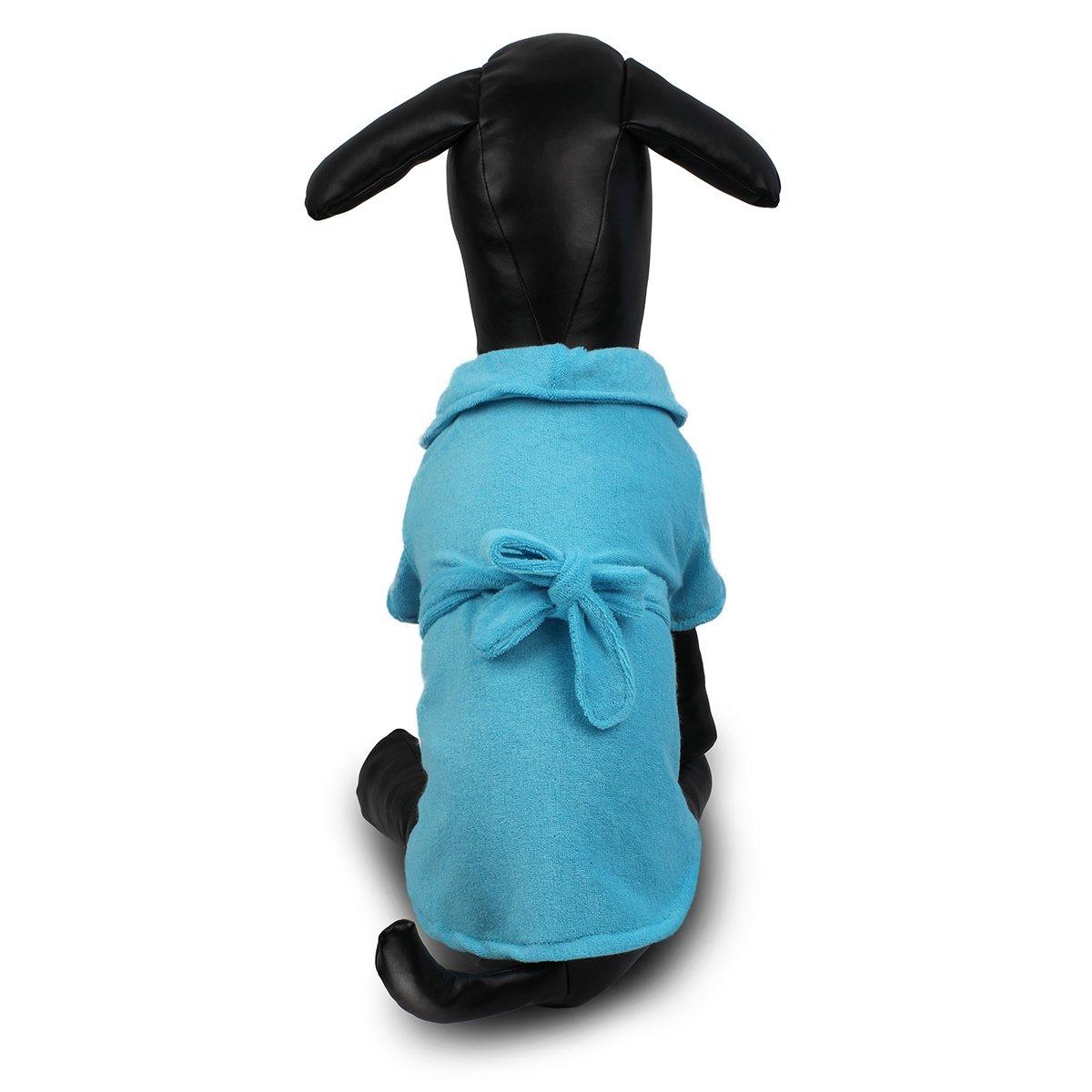 Lovely Elegant Dog Pajamas Pet bathrobe Dog Nighty Winter Soft Pet Pajamas Indoor Apparel for Dogs (S, Blue)
