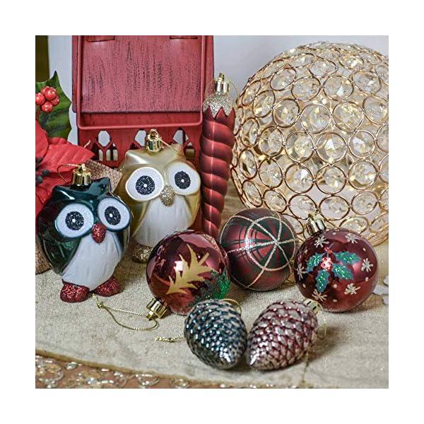 Valery Madelyn Palle di Natale 90 Pezzi di Palline di Natale, 3-13 cm di Strada di Campagna Rosso Verde e Oro Infrangibile Ornamenti di Palla di Natale Decorazione per la Decorazione 6 spesavip