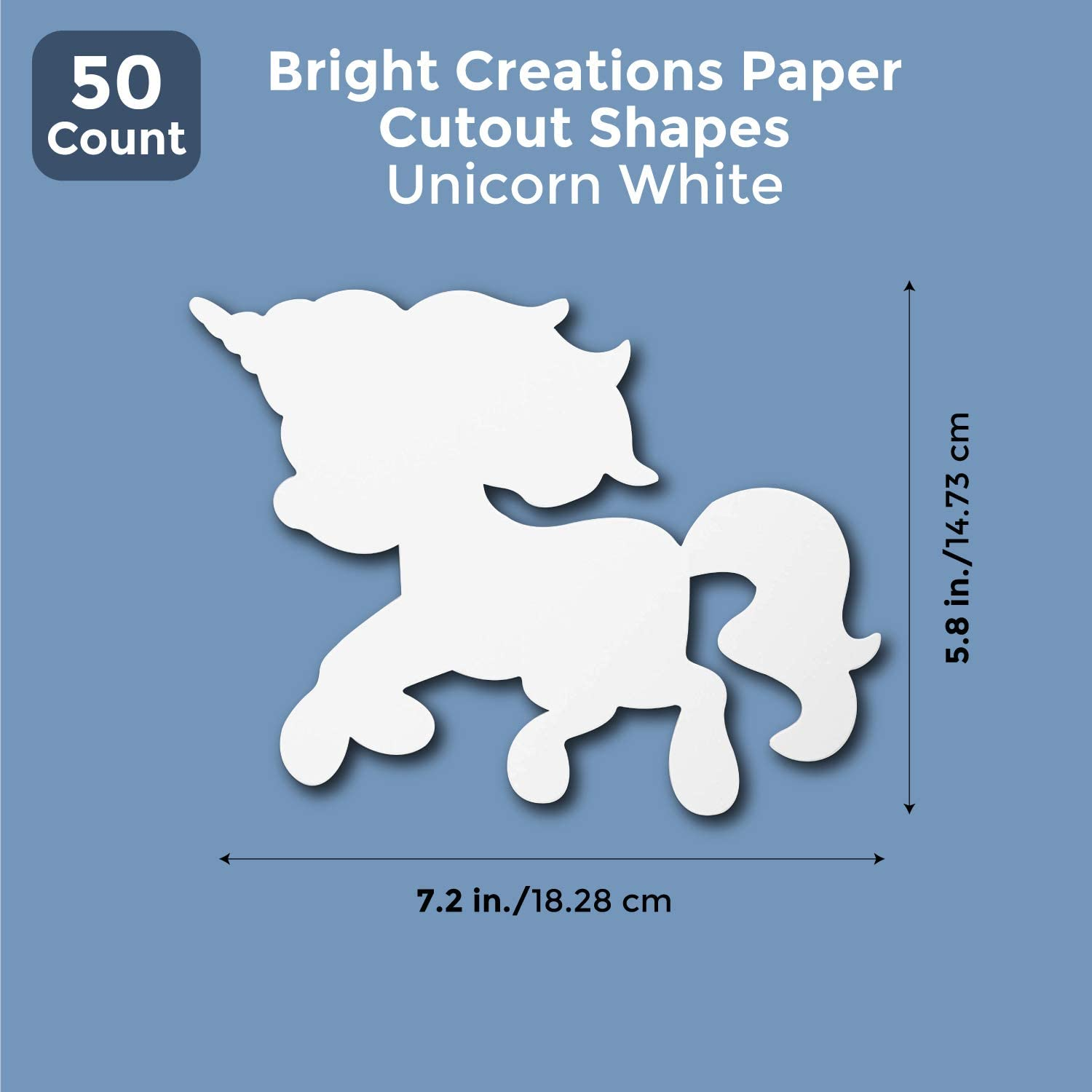 Unicorn 7 x 6 Inches Bright Creations Paper Cutout Shapes White 50 Count