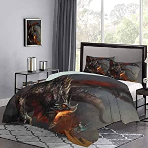 GugeABC Medieval Duvet Covers California King Size, Fantasy Scene Fearless Knight with Dragon Mythology Art Antique Bedding Sets, Dimgrey Charcoal Grey Orange