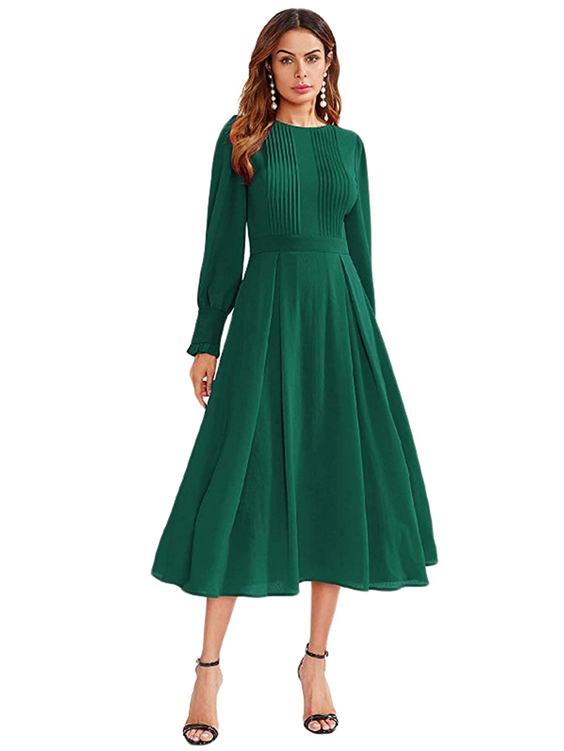 515c573a27c8 Milumia Women s Elegant Frilled Long Sleeve Pleated Fit   Flare Dress at  Amazon Women s Clothing store