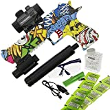 DNA Leisure New 2018 Children & Adults Battery Operated USB GEL SOFT Water Crystal Toy Gun Blaster Set 20m Range Grafiti Yellow Design With 3000 ammo Torch and Laser Dot