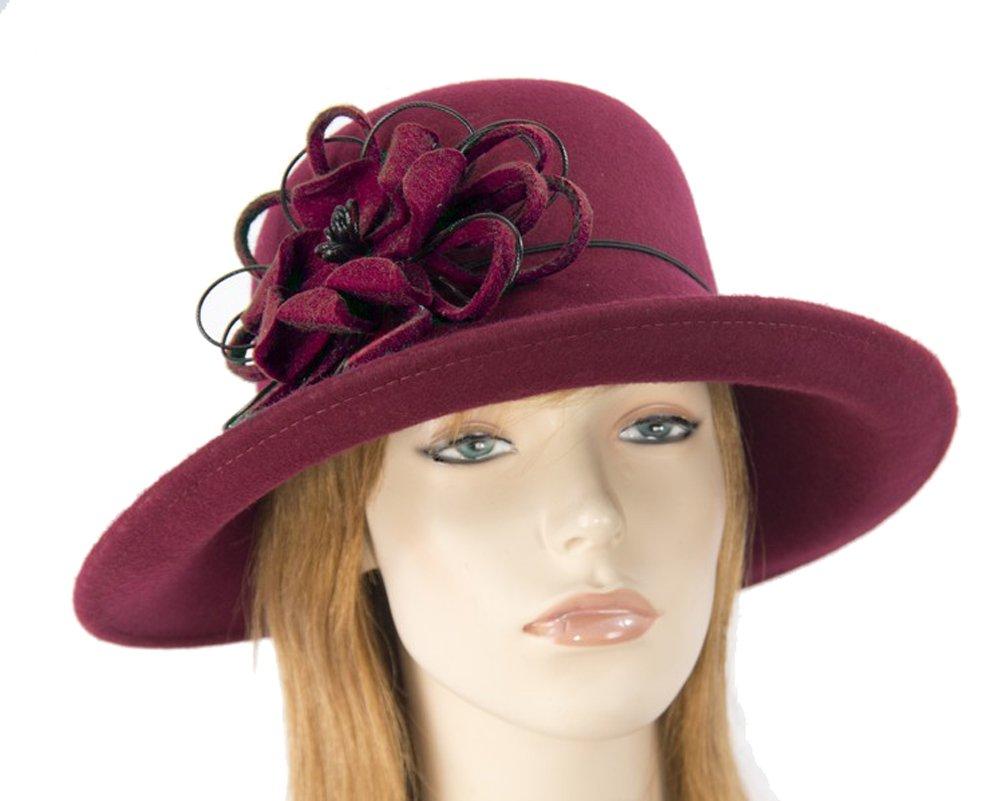 Max Alexander Burgundy wine pure wool felt ladies winter hat