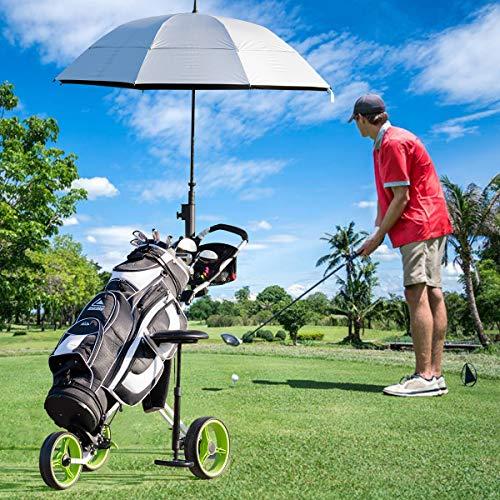 Tangkula Golf PushCart Swivel Foldable 3 Wheel Push Pull Cart Golf Trolley with Seat Scoreboard Bag Golf Push Cart (Green)