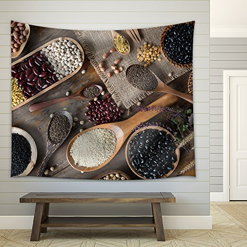 Top View of Variouse Leguminious with Cookware Fabric Wall Tapestry