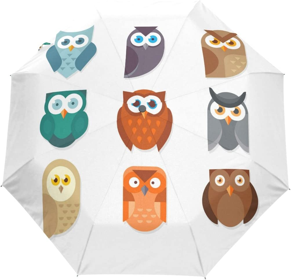 DOENR Colorful Owl Compact Travel Umbrella Sun and Rain Auto Open Close Umbrellas Windproof UV Protection Umbrella