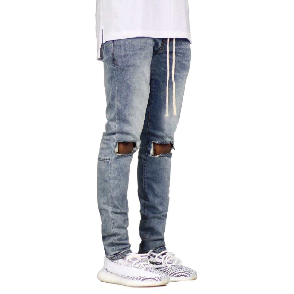 SayahMen Distressed Fitted Straps Pure Color Jean Pant