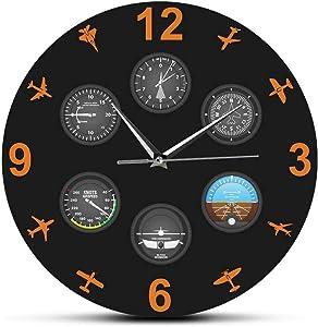 Flight Instrument with Military Aircrafts Modern Wall Clock Aviator Home Decor Wall Art Silent Timepiece Plane Lovers Pilot Gift