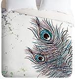 Deny Designs  Monika Strigel Boho Peacock Feathers Duvet Cover, King