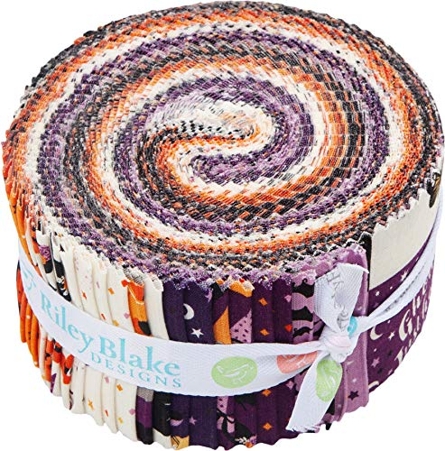 Dani Mogstad Fab-Boo-lous Rolie Polie 40 2.5-inch Strips Jelly Roll Riley Blake Designs RP-8170-40