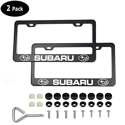 Fit Subaru 2 PCS License Plate Stainless Steel Frame With Screw Cap Black Cover