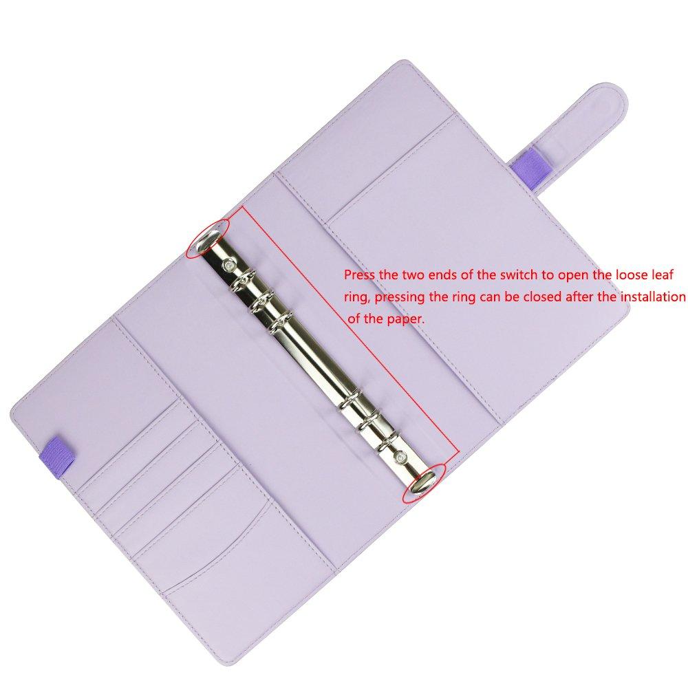 ricaricabile 6/rotonda legatura cover per A5/filler Paper A5/PU notebook copertura diario di viaggio con tasca per biglietti diario di scrittura cover con fibbia magnetica
