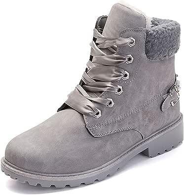 Botas Nieve Mujer Otoño Invierno Calentar Piel Forro Botines Retro Snow Boots Cordones Zapatillas Planas Negro Caqui Gris Rosa 36-43