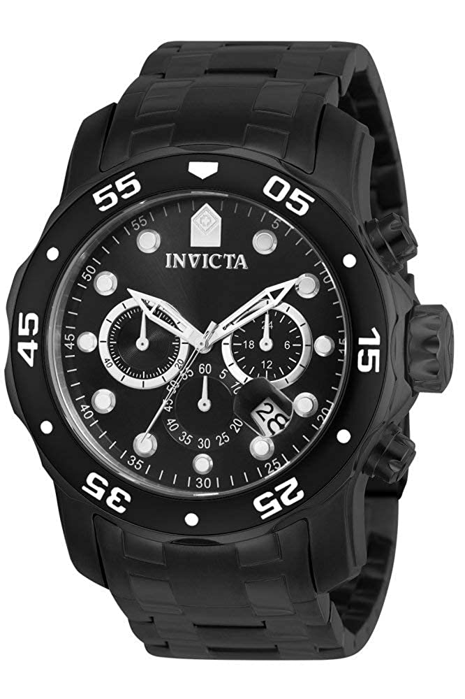 Invicta Men s 0076 Pro Diver Collection Chronograph Black Ion-Plated Stainless Steel Watch