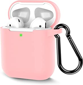 Coffea Protective Silicone Case with Keychain for Apple AirPods 2 (Pink)