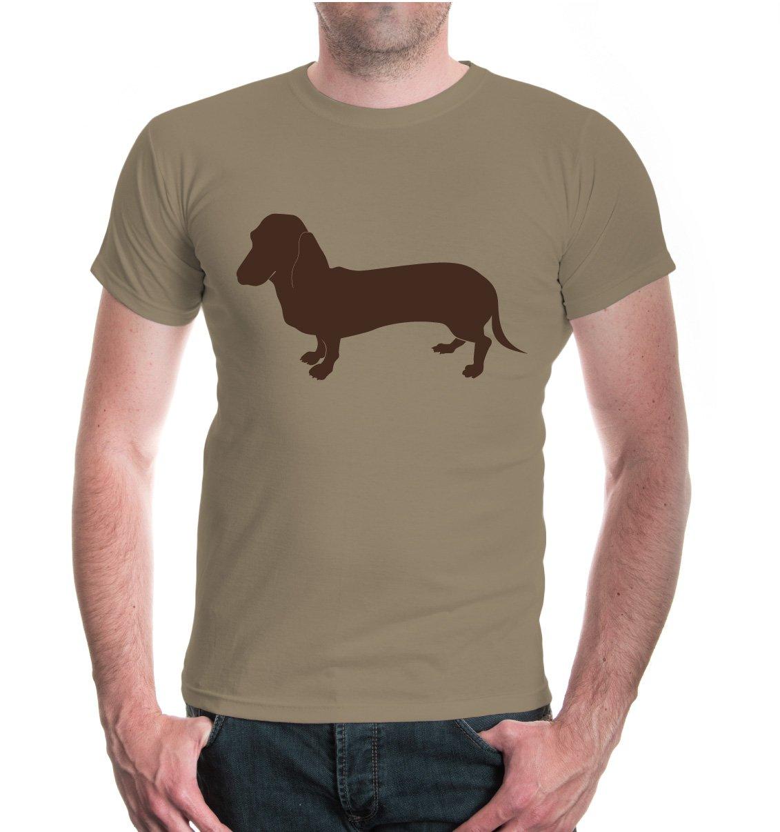 buXsbaum® Herren Unisex Kurzarm T-Shirt bedruckt Dackel Tiersilhouette |  Hund Jagdhund: Amazon.de: Bekleidung