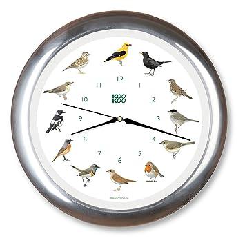 KOOKOO Singvögel quartz alumino, reloj de pared con 12 pájaros cantores, nativos, grabaciones originales de la naturaleza, reloj con sensor de luz: ...