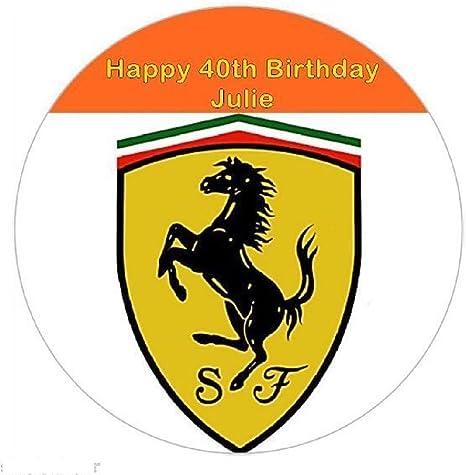 Ferrari Badge Personalisierbar Zucker Zuckerguss Birthday Cake Topper Party Dekoration Auto Einfarbig 7 5 Square Amazon De Küche Haushalt