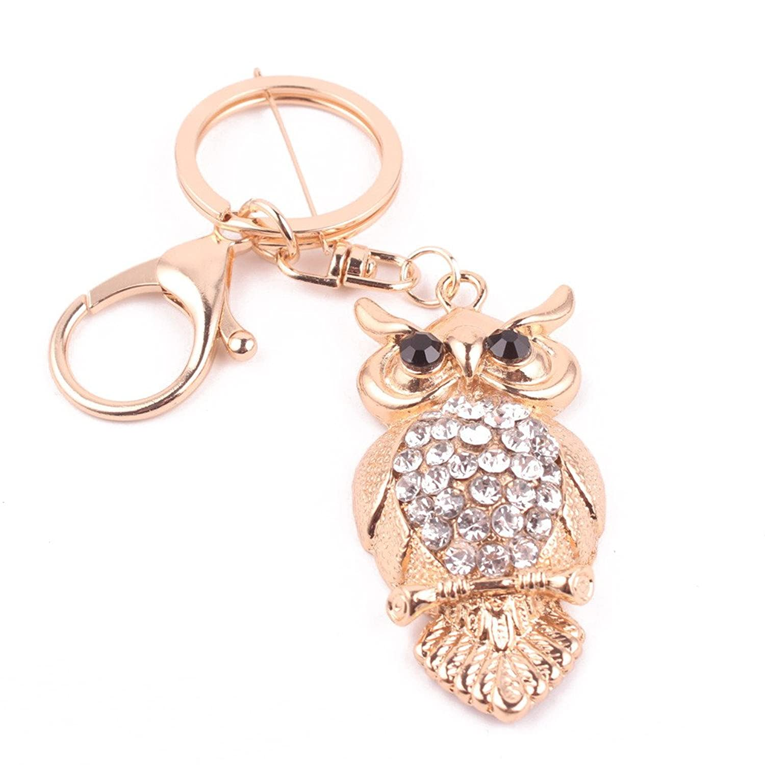 Fashion Rhinestone Owl Girl Women Keychain Bag Pendant Chic Car Key Chain Ring Holder Jewelry Key Ring Pendant Jewelry^