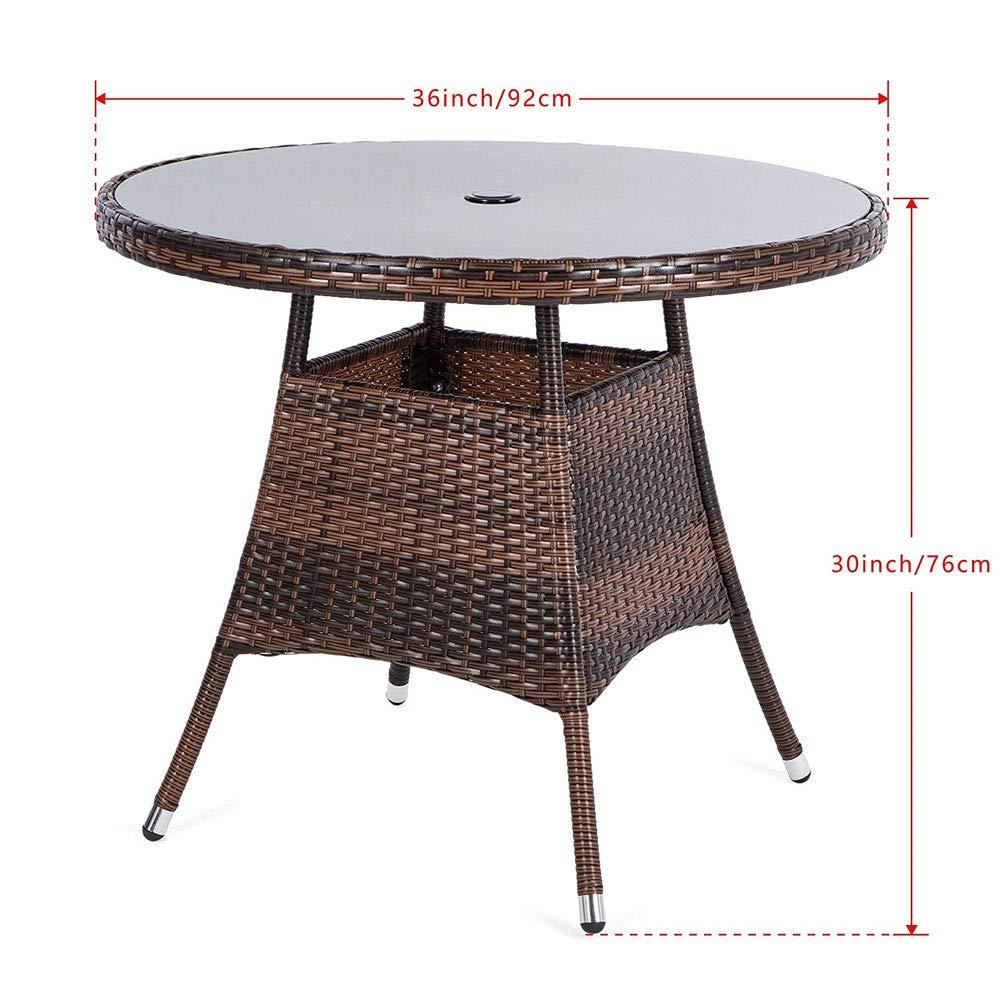 Amazon Com Luckup 36 Round Patio Pe Brown Wicker Dining Table