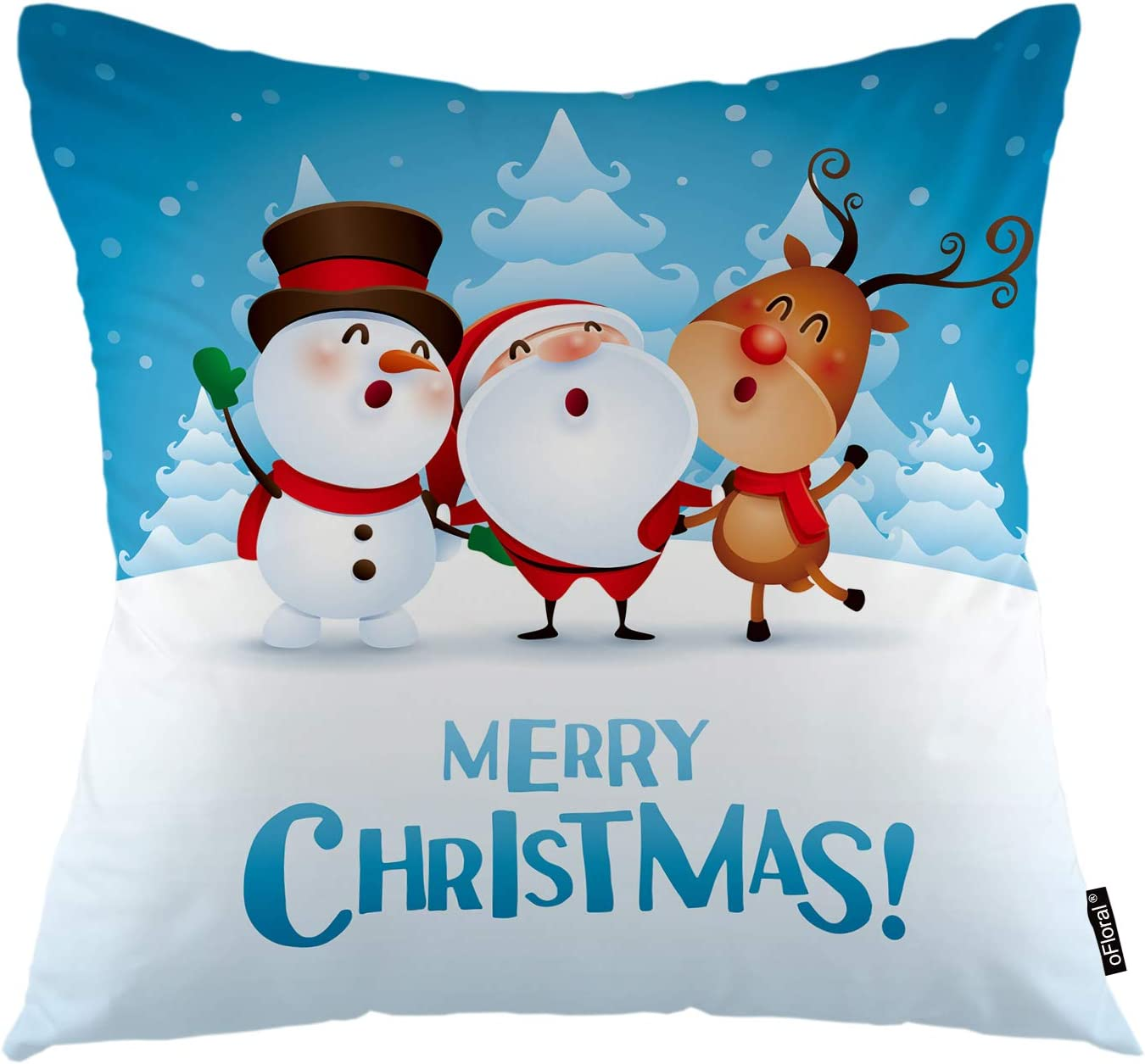 oFloral Christmas Throw Pillow Cover Cartoon Santa Snowman Deer Companions Dancing Singing Decorative Pillow Case Home Decor for Sofa Bedroom Car 18x18 Inch Pillowcase