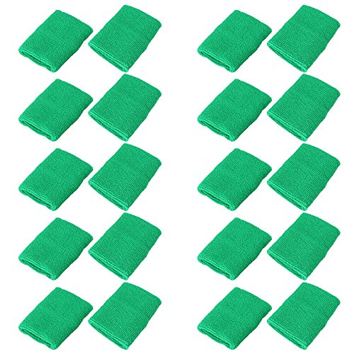 Mallofusa 10 Pack Colorful Sports Basketball Football Absorbent Wristband Party Outdoor Activity (Green) (Football Wristband)