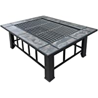 Grillz Outdoor Fire Pit Square Metal Firepit Backyard Patio Garden Stove Wood Burning Fire Pit W/Rain Cover, Black