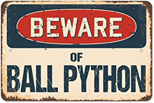 Beware of Ball Python Rustic Sign | Rustic, Distressed Vintage Look | Choose from: Aluminum, Rigid Plastic or Decal Sticker | Indoor/Outdoor | Funny Home Décor for Garages, Living Rooms, Bedrooms