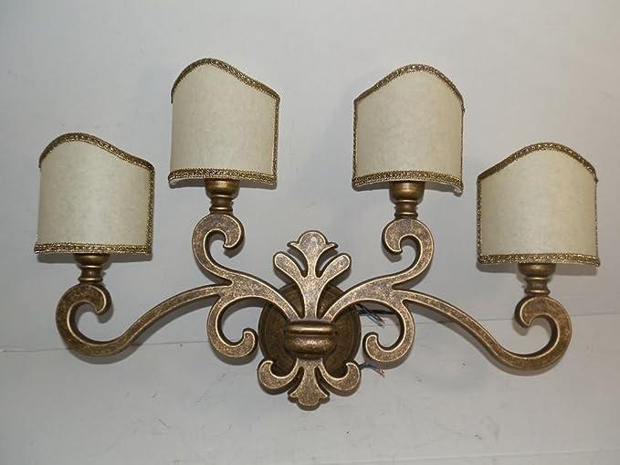 Applique lampada da parete in ottone brunito giglio fiorentino