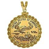 14k Gold 1/2 oz Gold Eagle Bezel Rope 27mm coin Screw Top