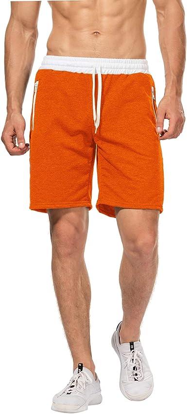 Pantalones Cortos Deportivos Para Hombre Pantalones De Hombre Con Cordon Y Cremallera Para Los Bolsillos Amazon Es Ropa Y Accesorios