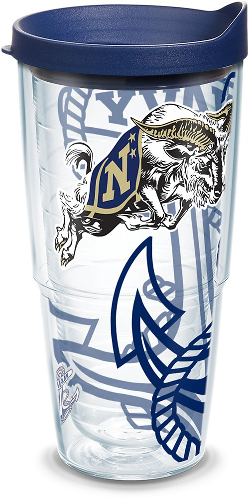 Tervis 1289786 Navy Midshipmen Tumbler with Wrap Lid, 24oz, Clear by Tervis (Image #1)