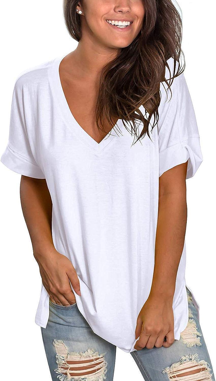 jaune col V à manches courtes T-shirt en coton mélangé Femmes Tee BP