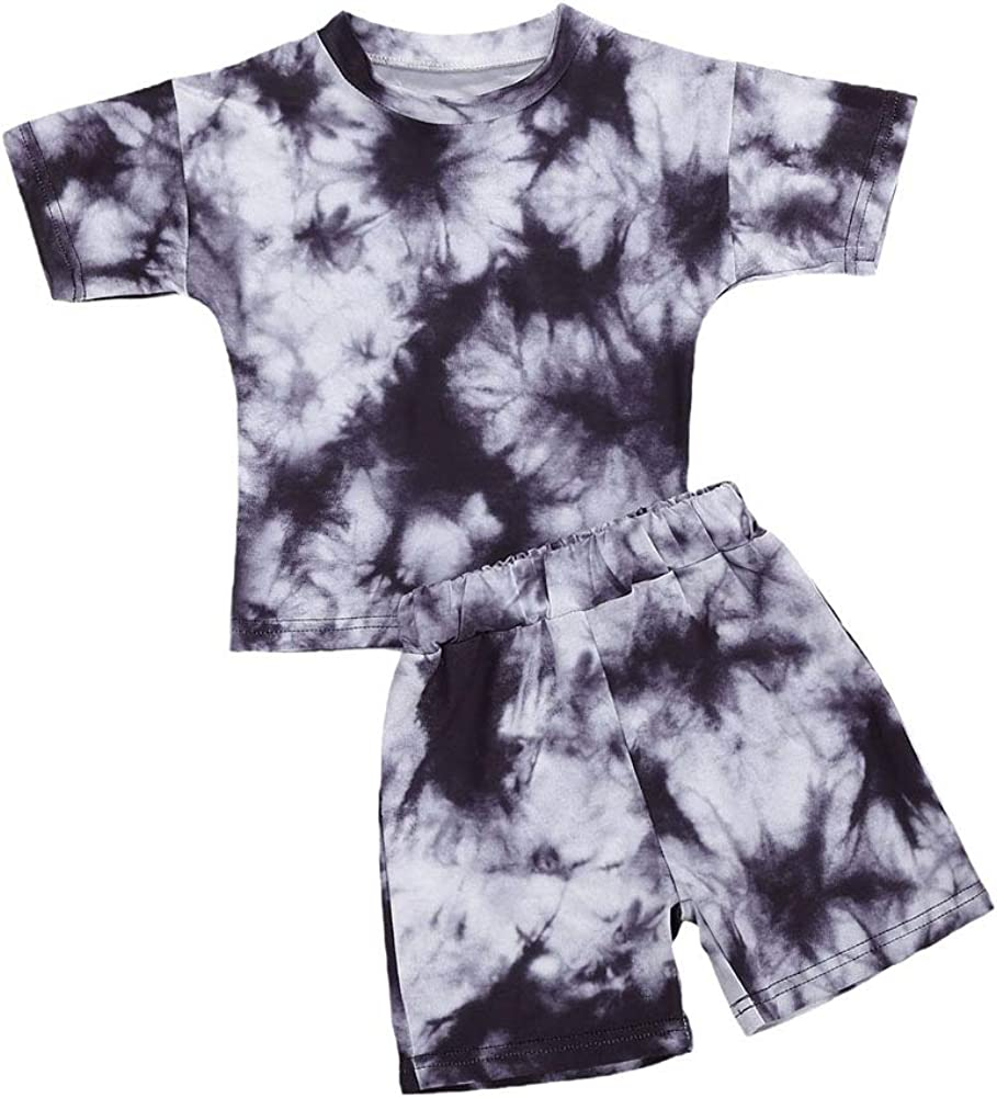 Toddler Baby Boy Girl Short Sleeve Leopard Tops+Shorts Pajamas Sleepwear Outfits