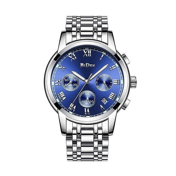 Relojes De Hombre Deportivos Clásicos Militar Especiales Marea Moda Acero Inoxidable Plateado Lujo Calendario Analógicos Reloj De Pulsera para Hombre