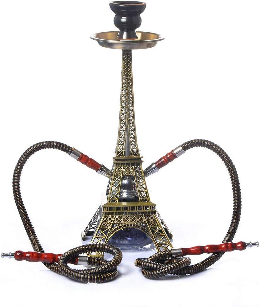 SSOLEREIT Hookah para 2 Personas 2 Tuberías Bar Hookah Hookah Set Eiffel Tower Modeling Kit con tazón de cerámica, Accesorios de carbón, Accesorios de Conector de Manguera, Suministros para Fiestas