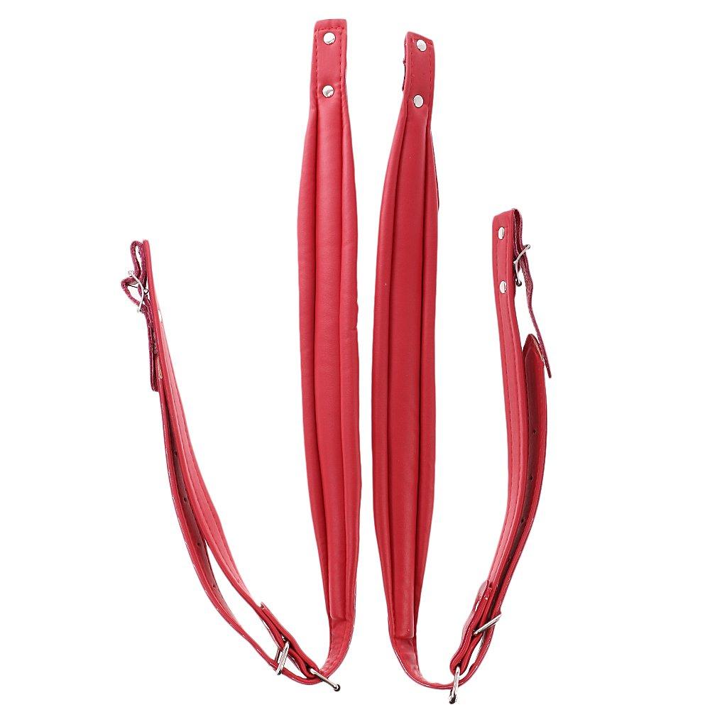 Gazechimp 1 Paire Bretelles Sangles d'Epaule en Cuir Artificiel avec Boucle Réglable pour 16-120 Basse Accordéon - Rouge