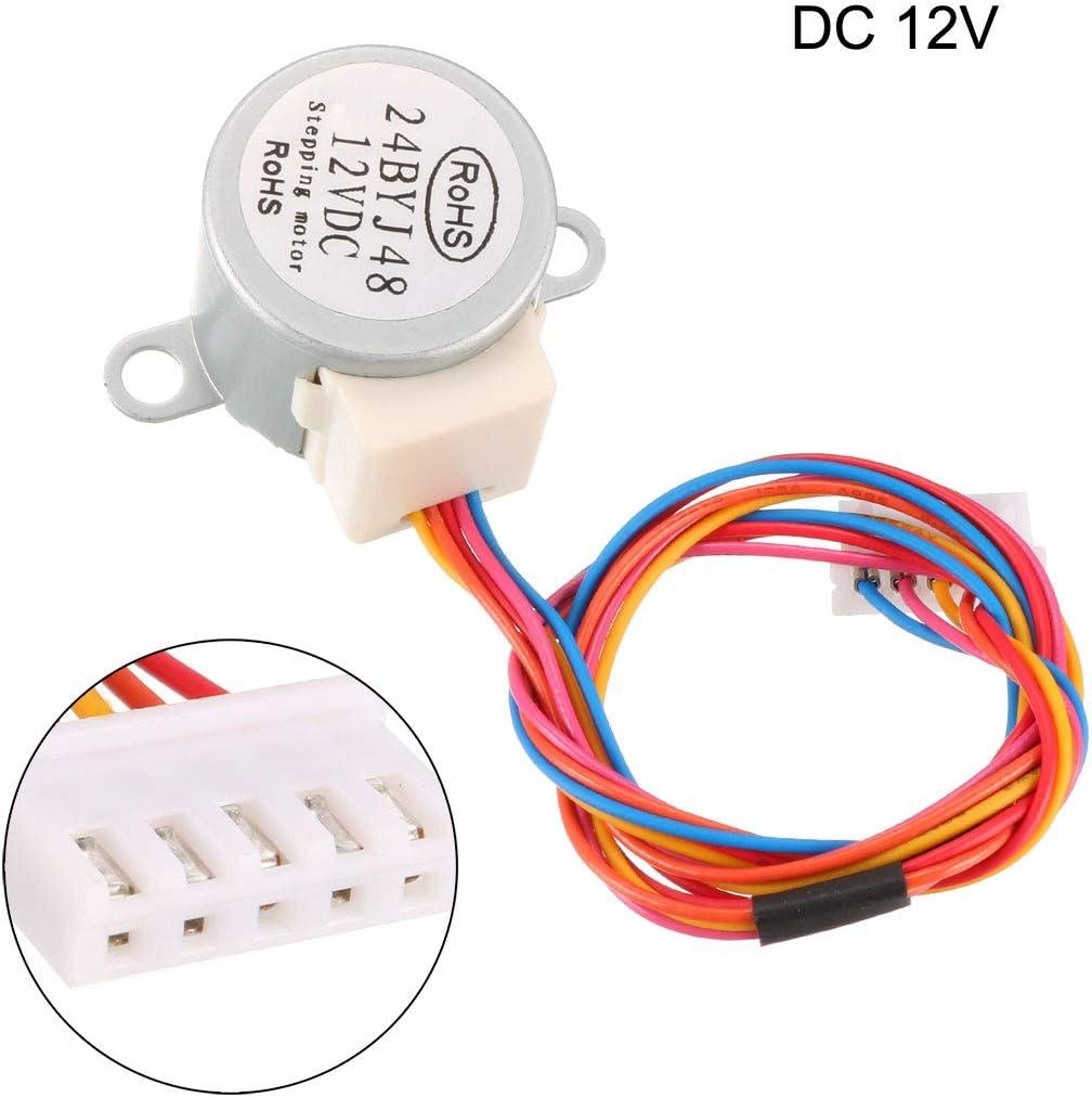 sourcing map Micro motor de reducci/ón paso a paso 24BYJ48 DC 12V Reductor de motor paso a paso 4-Fase 5 Hilos 2 unidades
