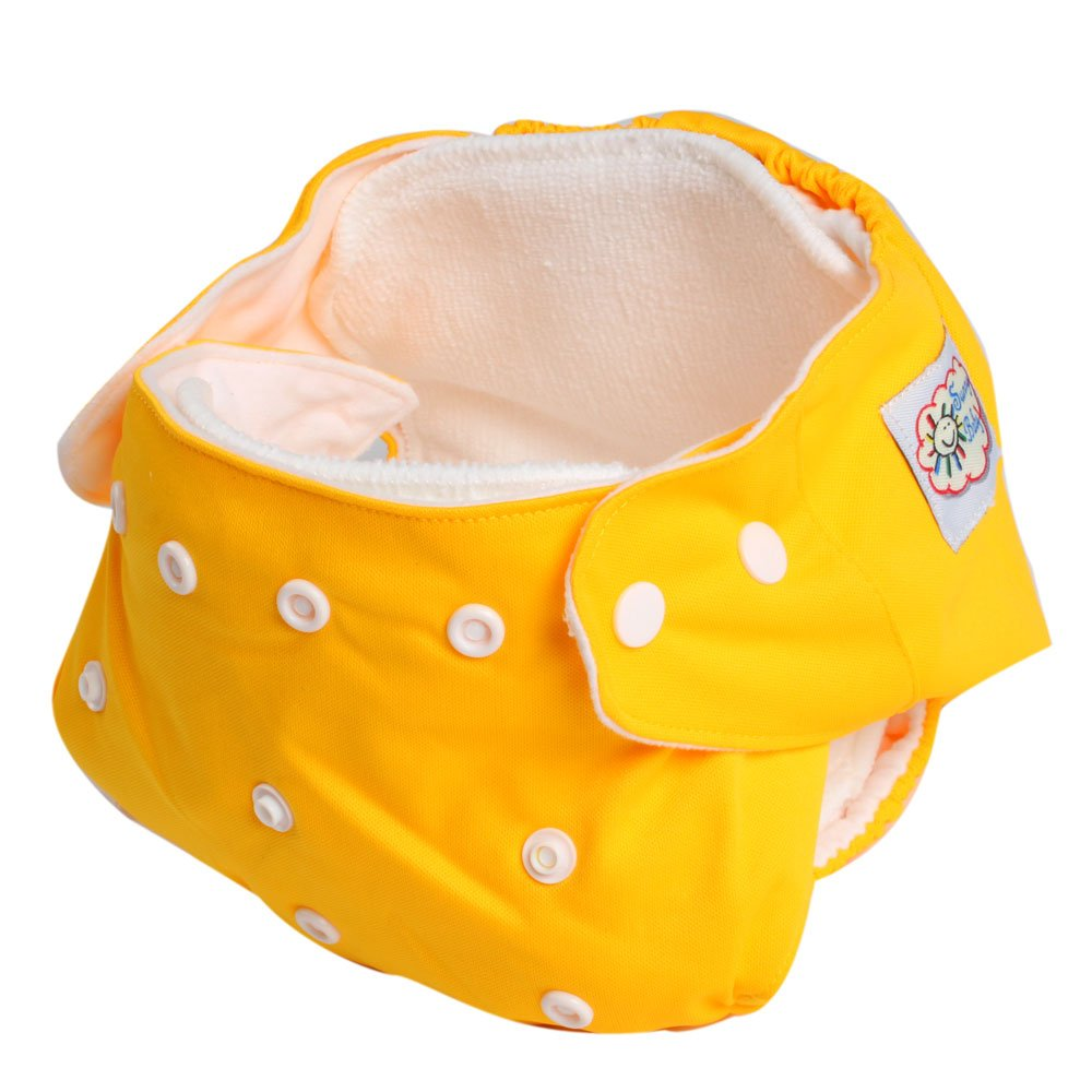 Amazon.com : Adjustable Reusable Washable One Size Baby Cloth Diaper Diapers Nappy 1 Diaper + 2 Inserts Yellow : Baby Diaper Covers : Baby