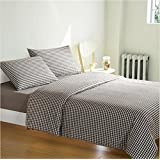 Natural Grid 4 Piece Bed Sheet Set Durable Egyptian 100% Cotton Duvet Cover Fitted Sheet Pillowcases Assorted Colors 3 Sizes , 3 , twin