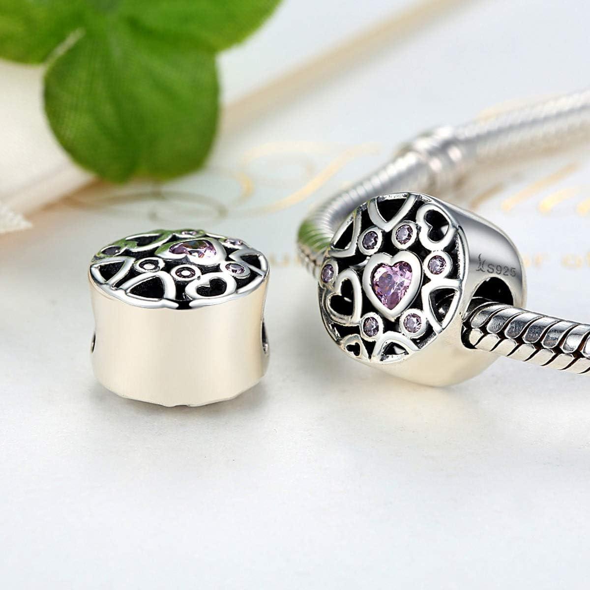 Argent sterling 925 C/œur Cristal Perle charm avec Oxyde de Zirconium Rose pour bracelet /à breloques Collier,F/ête des m/ères Cadeau pour Maman