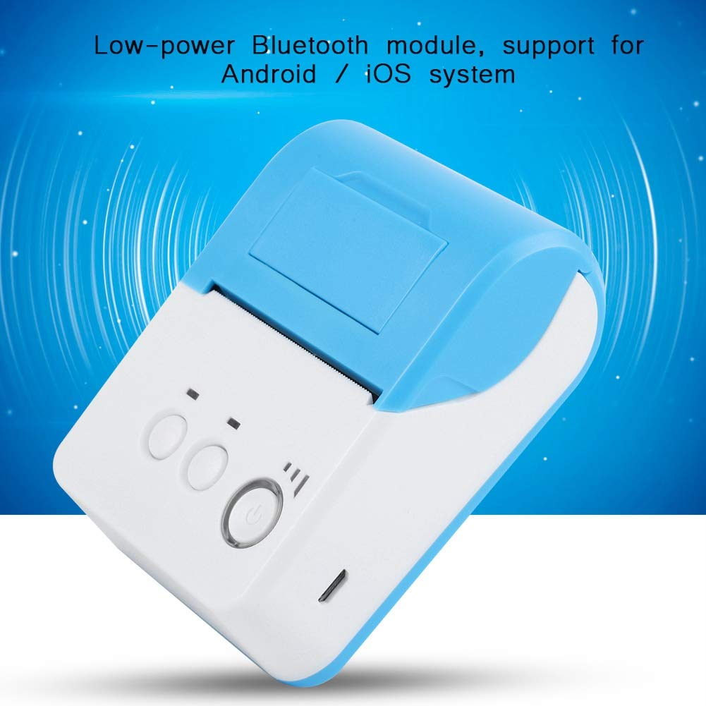 ASHATA Bluetooth Thermodrucker Tragbarer Bluetooth Wireless 58mm Thermodrucker Quittungsdrucker,High-Speed Mini kabelloser Thermal Drucker ESC//POS Thermodrucker EU Stecker
