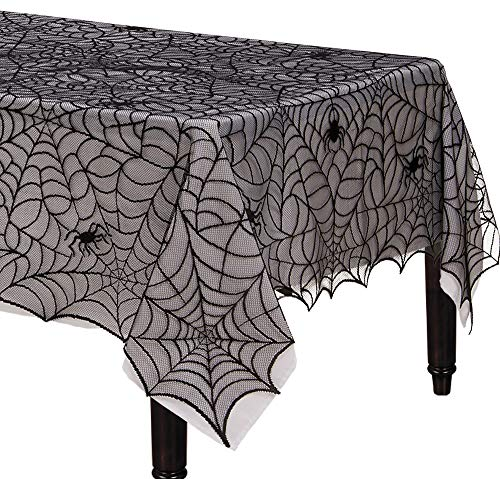 Amscan Spider Web Lace Fabric Tablecloth, Fabric Decoration is Washable and Reusable, Measures 60 Inches by 84 Inches]()