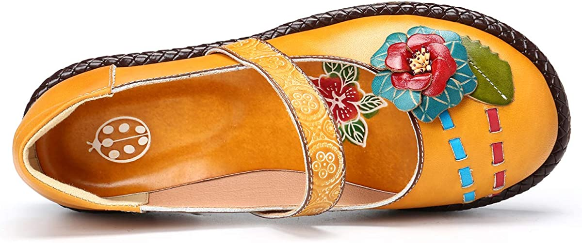 gracosy Womens Flats Mary Jane Shoes Summer Walking Casual Slip-on Loafers Shoes Comfort Ballet Dancing Shoes Handmade Flower Vintage Round Toe Leather Moccasins Driving Shoe Outdoor Hook Loop Sandal